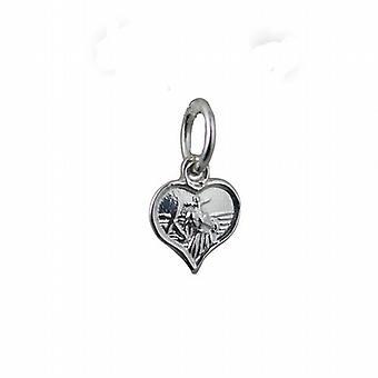 Corazón 8mm St Christopher Pendant o encanto de plata
