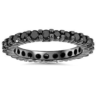 1ct schwarzer Diamant Ewigkeit Hochzeit Ring 14K Schwarzgold