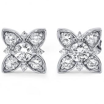 1 ct Floral Starburst Diamant Ohrstecker 14K White Gold