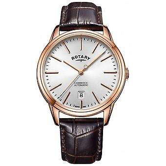 Rotary Mens Cambridge Rose Gold Tone Case Leather Strap GS05252/02 Watch