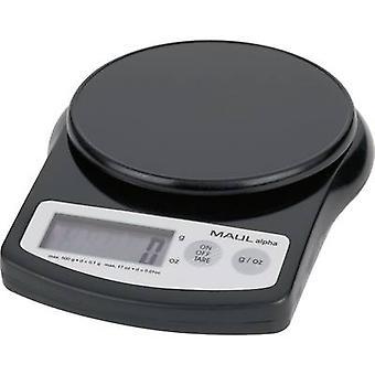 MAULalpha 500G Maul brief schalen gewicht bereik 0,5 kg leesbaarheid 0.1 g accu-aangedreven zwart