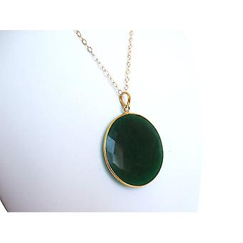 Emerald chain emeralds green Emerald Necklace gold plated