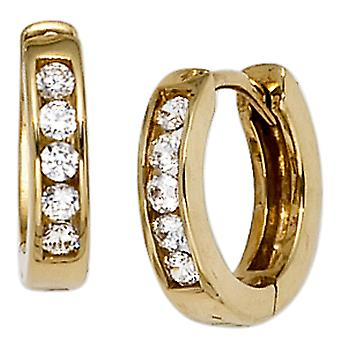 Hoops Klappcreolen around 333 gold yellow gold with 10 cubic zirconia earrings gold earrings gold