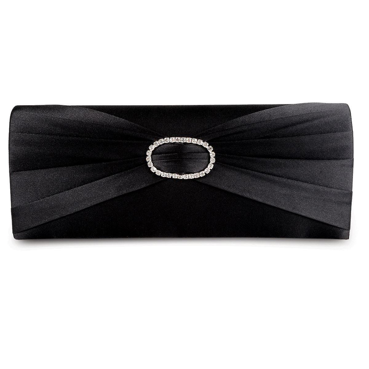 Ladies Low Heel Diamante Ruffle Effect Women's Smart Shoes Clutch Bag