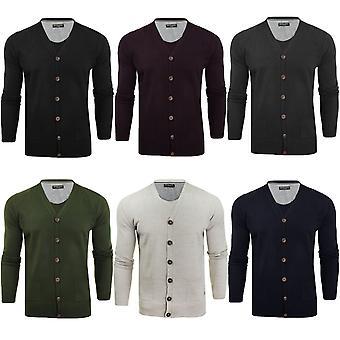 Brave Soul Mens Ghazali Long Sleeve Buttoned V-neck Cardigan Jumper Top