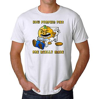 Funny How Pumpkin Pies Are Really Made Graphic Men's White T-shirt