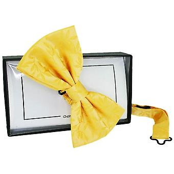 David Van Hagen Floral Jaquard Silk Bow Tie - Gold