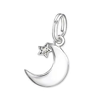 Mond - 925 Sterling Silber Anhänger mit Split-Ring - W29269x