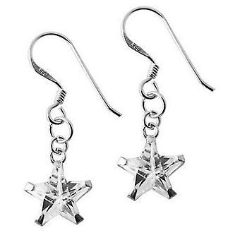 Drop Earrings 925 Sterling Silver Jewellery, Stars White Zirconia