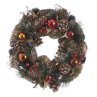 Festive Productions 30cm Red and Copper Ball Pinecones Bauble Christmas Wreath