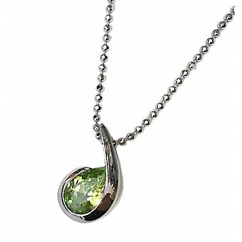 """Cavendish French Silver and Peridot Green CZ Comma Pendant with 18-20 """" Silver Chain"""