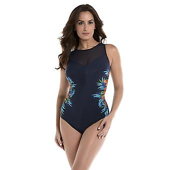 Miraclesuit 6516970 Women's Samoan Sunset Fascination Midnight Blue Floral Underwired Shaping Swimsuit