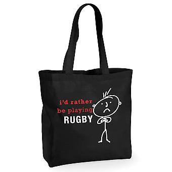 Mens I'd Rather Be Playing Rugby Black Cotton Shopping Bag