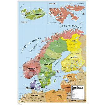 Map of Scandinavia Poster Map of Scandinavia D'nemark, Norway, Sweden, Finland and Iceland 91.5 x 61 cm