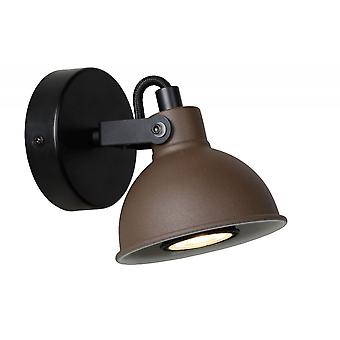 Lucide Damian Industrial Globe Steel Rust Brown And Black Wall Spot Light