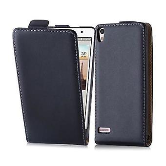 Cadorabo Etui Huawei P6 en CAVIAR noir - étui dans la conception flip en cuir lisse art - housse Etui pochette pochette sac livre Klapp style