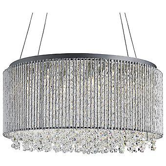 Beatrix cromo e cristallo otto luce pendente rotondo - Searchlight 4048-8CC