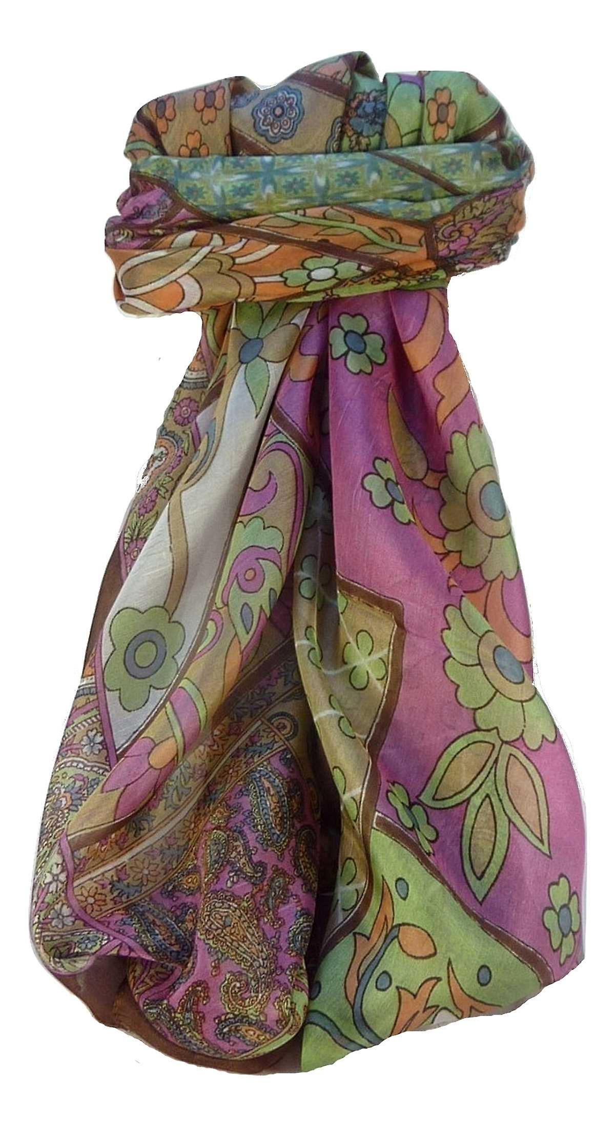 Mulberry Silk Traditional Square Scarf Qia Chestnut by Pashmina & Silk