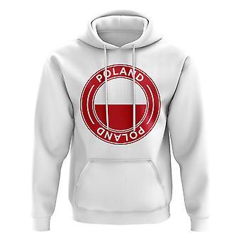 Pologne Football Badge Hoodie (White)