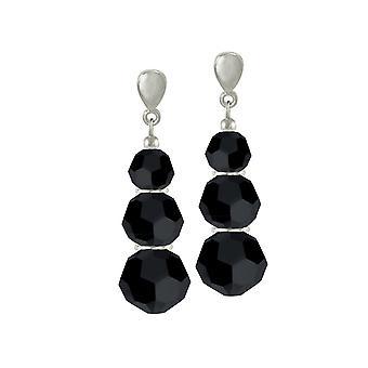 Eternal Collection Trinity Jet Black Austrian Crystal Silver Tone Drop Pierced Earrings