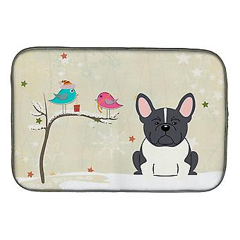 Christmas Presents between Friends French Bulldog Black White Dish Drying Mat