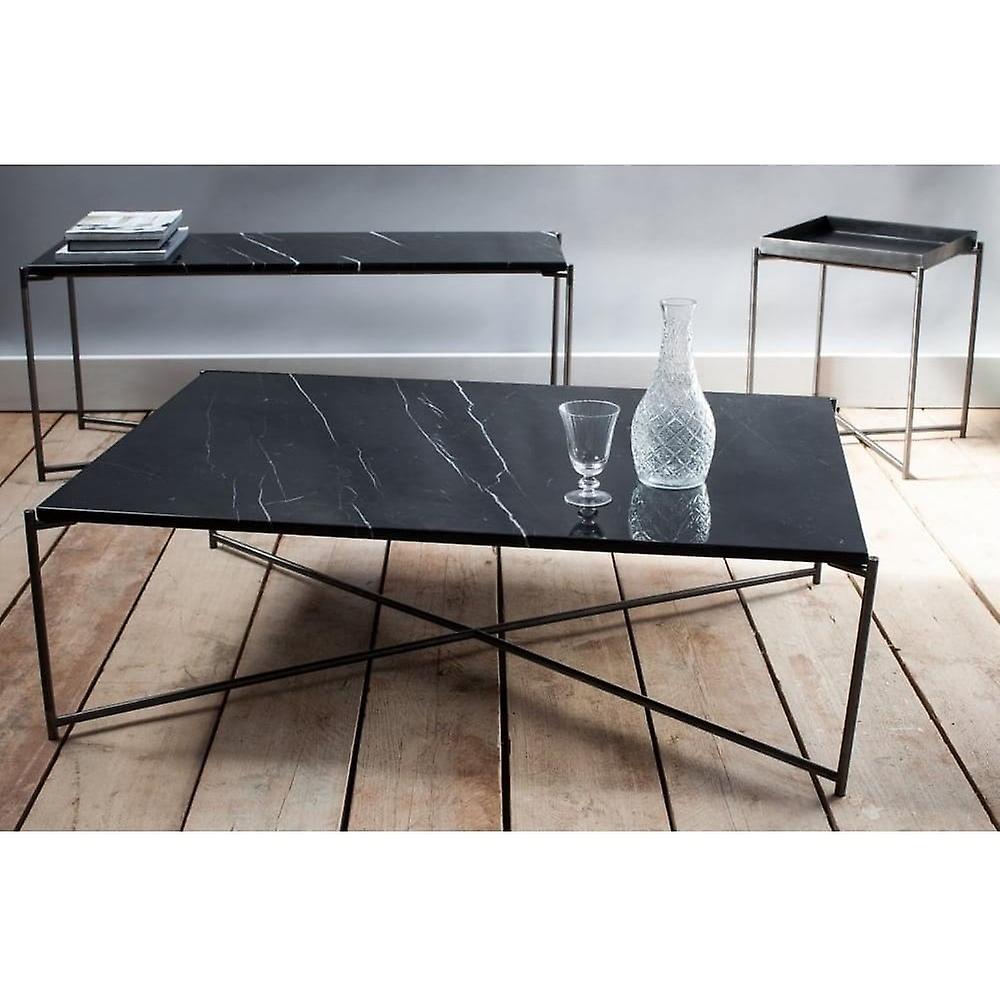 Gillmore Black Marble Square Lamp Table With Gun Metal Cross Base