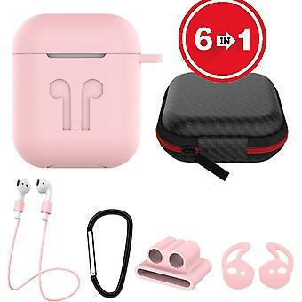 Caja de silicona 6 en 1 con accesorios adecuados para AirPods-pink