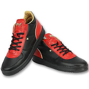 Shoes Sneakers - Luxury Black Red- Red