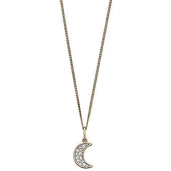 Elements Gold Moon Diamond Pendant - Gold/Silver