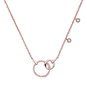 Jewelco London Ladies Rose Gold-Plated Silver White Round CZ Art Deco Eternity Drop Charm Necklace 16 + 2 inch