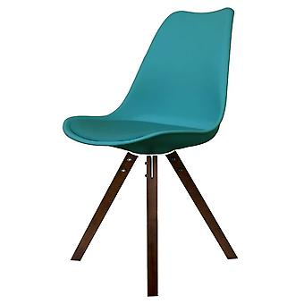 Fusion Living Eiffel Inspired Teal Plastic Dining Chair With Square Pyramid Dark Wood Legs