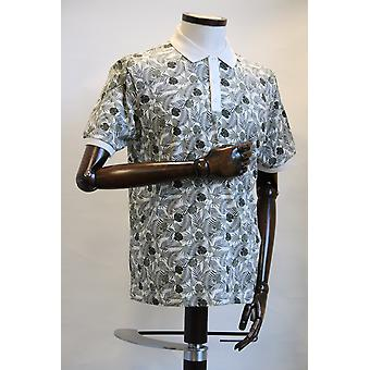 Merc London Gaston Off-White Leaf Print Polo Shirt