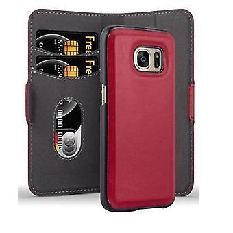 Cadorabo Hülle für Samsung Galaxy S7 Case Cover -Handyhülle im 2-in-1 Design mit Standfunktion und Kartenfach - Hard Case Book Etui Schutzhülle Tasche Cover