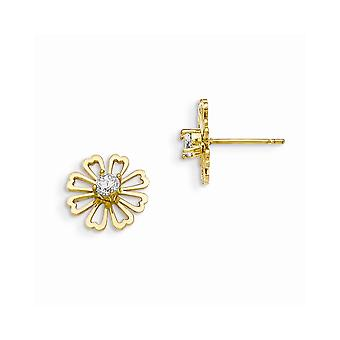 14k Yellow Gold Madi K CZ Cubic Zirconia Simulated Diamond for boys or girls Flower Post Earrings