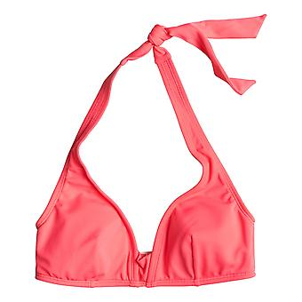 Roxy Mix Adventure 70s Halter Bikini Top in Neon Grapefruit