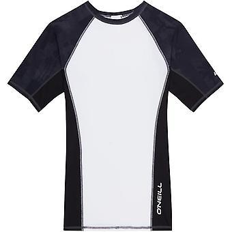 ONeill Print Short Sleeve Rash Vest in Super White