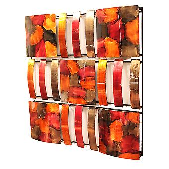 9-Panel Square Metal Wall Decor - Metal, Lacquered In Burgundy, Copper And Brown