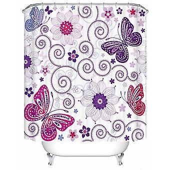紫の蝶と花のシャワーカーテン