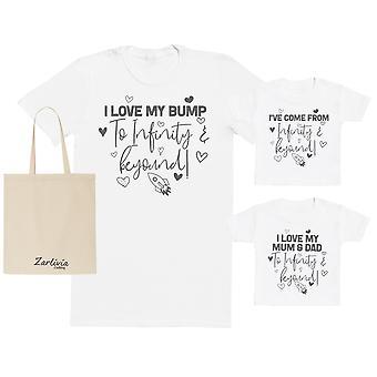 I Love My Bump To Infinity & Beyond Maternity Hospital Gift Set Bag - Zestaw t-shirtów