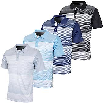 Island Green Mens Mini Stripe Sweat-Wicking Golf Polo Shirt