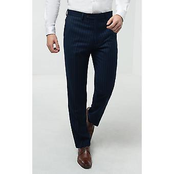 Dobell Mens Navy Stripe Spodnie garniturowe Regularne Dopasowanie