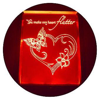 Flattern Sie Schmetterling Herz Farbwechsel RC LED Spiegel LightFrame