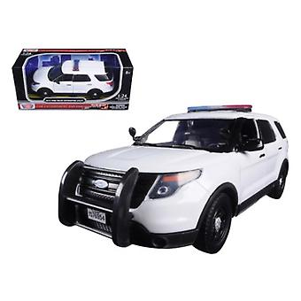 2015 Ford Interceptor unmarked Police Car With Light Bar White 1/24 Diecast Model Car by Motormax