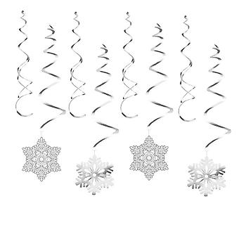 Christmas Snowflake Foil Banner, Hanging Swirl Xmas Party Decoration