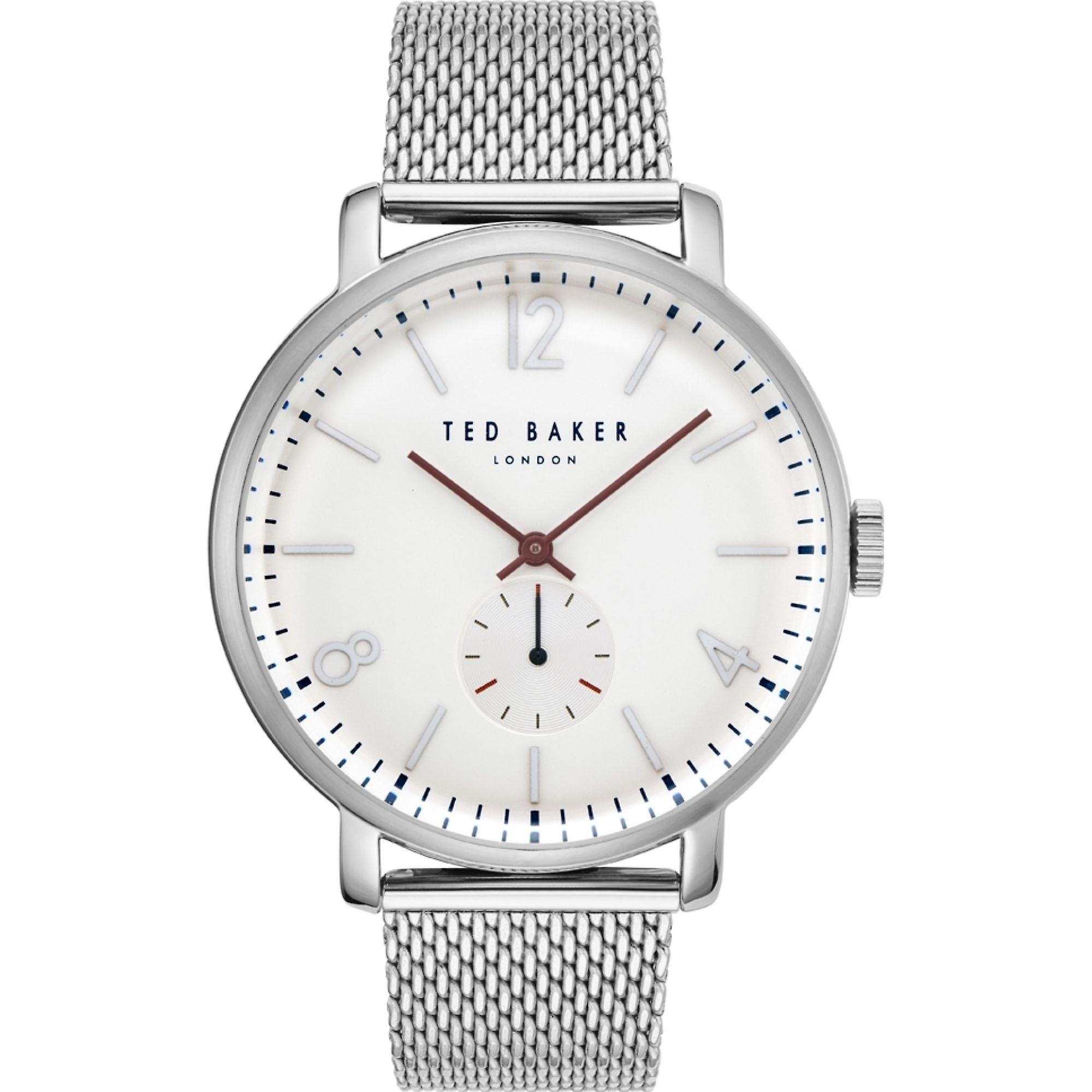 Ted Baker Oliver Quartz White Dial Silver Mesh Stainless Steel Bracelet MensWatch TE50015011