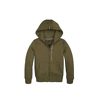 Tommy Hilfiger Boys Tommy Hilfiger Boy ' s Khaki verde zip através camisola com capuz