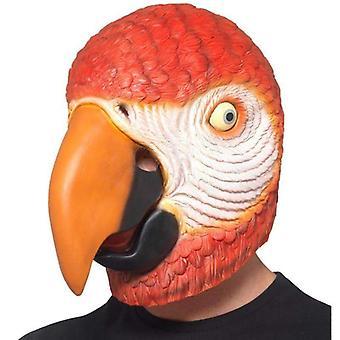 Papegøje latex maske voksen rød