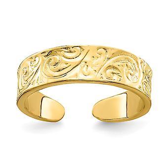 14k oro ajustable patrón de perno del pie joyería regalos para las mujeres - 1.9 gramos