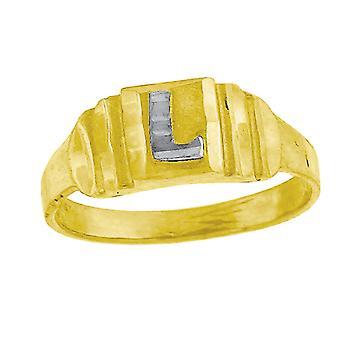 10k Two tone Gold baby voor jongens of meisjesLetter Naam Gepersonaliseerde Monogram Initial L Band Ring Measures 6.3x2.50mm Wide S