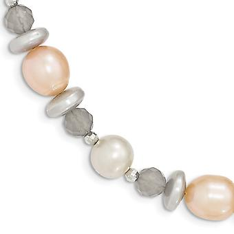 925 Sterling Silver Multi Freshwater Cultured Pearl Grey Agate and Bead Charm Pendant Necklace B Jewelry Gifts for Women